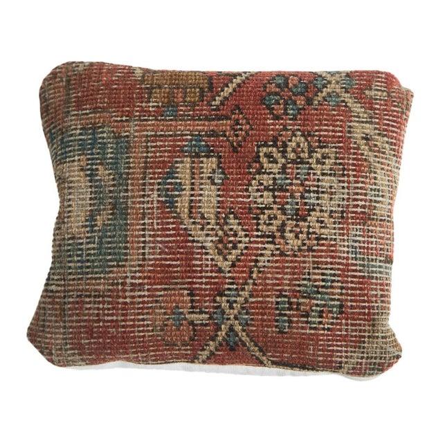 Antique Heriz Rug Fragment Pillow For Sale