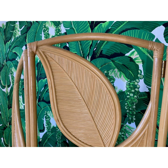 1970s Tropical Rattan Room Divider Folding Screen For Sale - Image 5 of 12