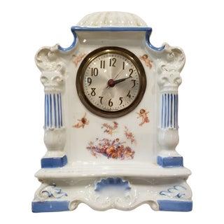 Decorative Antique Porcelain Clock With Cherubs For Sale