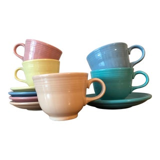 Vintage Fiesta Ware Cups and Saucers - Set of 5 (10 Pieces) For Sale