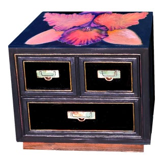 Patrick Briggs 'Midnight Orchid' 2021 Acrylic Painted Campaign Style Wooden Nightstand For Sale