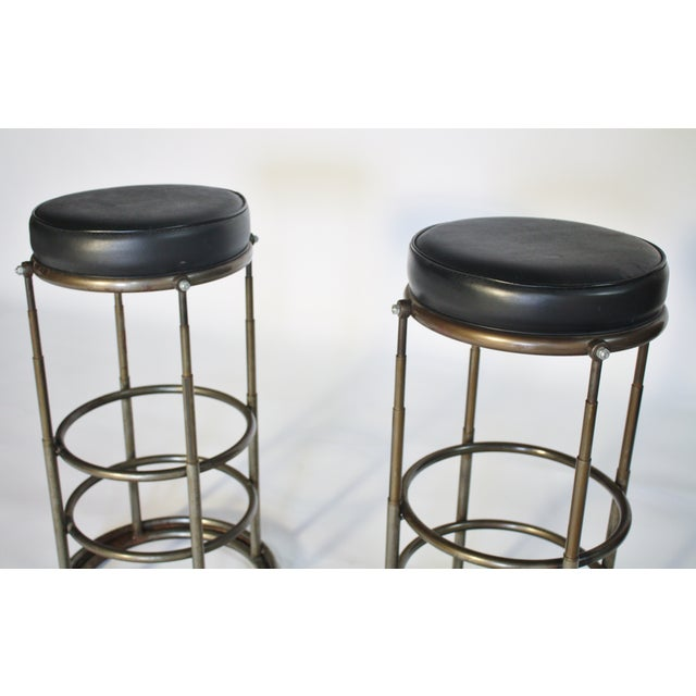 Machine Age Industrial Bar Stools - A Pair - Image 4 of 6