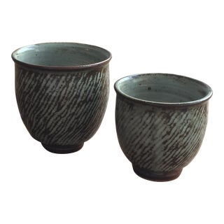 1970s Japanese Ceramic Tea Cups - a Pair For Sale