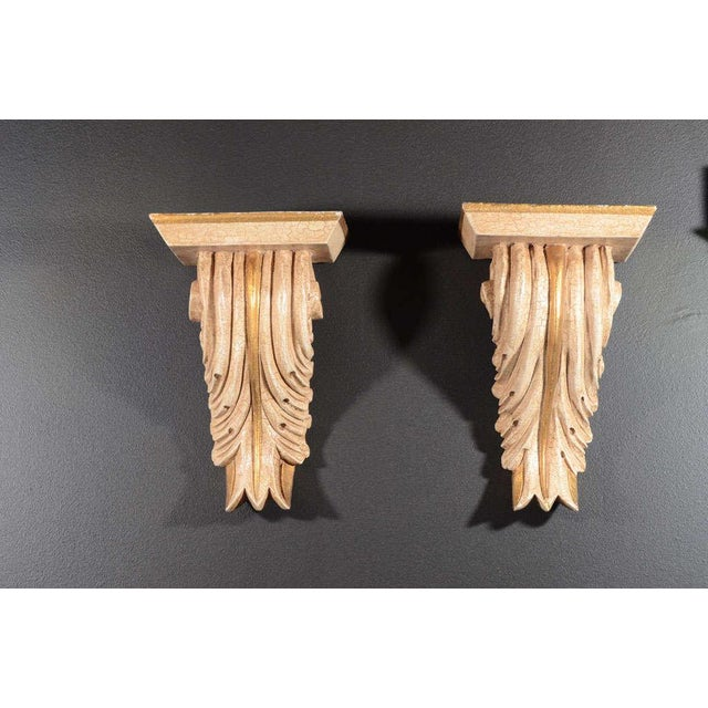 American Classical Pair of Architectural Baroque Style Corbels with Hand-Carved Design For Sale - Image 3 of 11