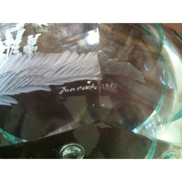 Green Moser Crystal Candy Dish, Signed - Image 7 of 7