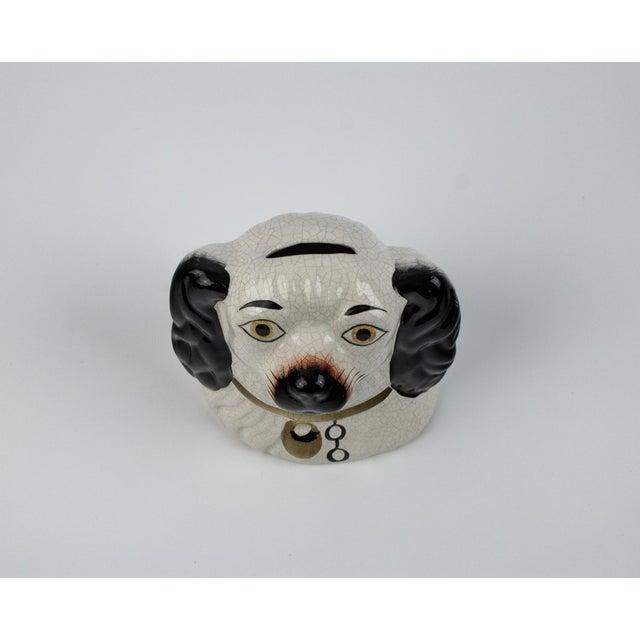 Ceramic 19th Century English Traditional Staffordshire Ceramic Dog Head Money Bank For Sale - Image 7 of 11