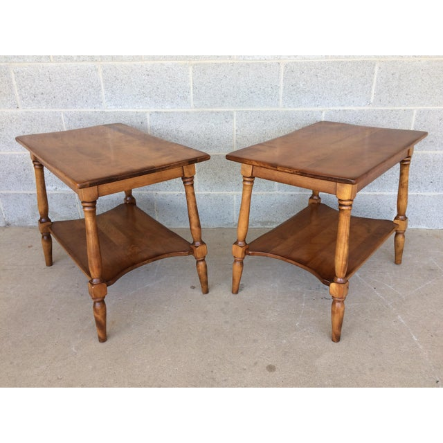 Cushman Furniture pair of maple end/side tables, very good vintage furniture condition, high quality craftsmanship, solid...