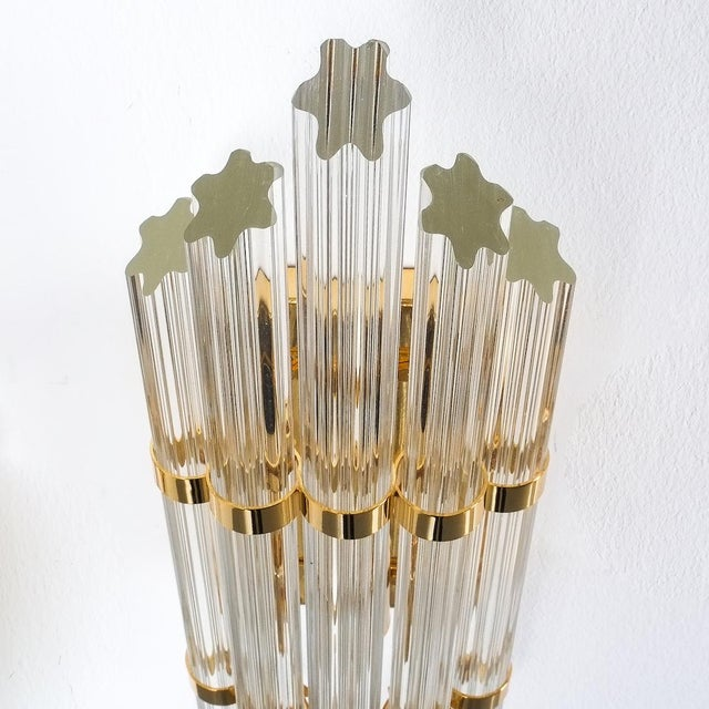 Brass Large Venini Style Murano Glass and Brass Wall Lamps Sconces, 1970 For Sale - Image 7 of 8