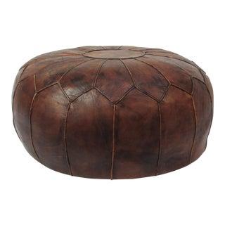 Large Vintage Leather Moroccan Pouf Ottoman