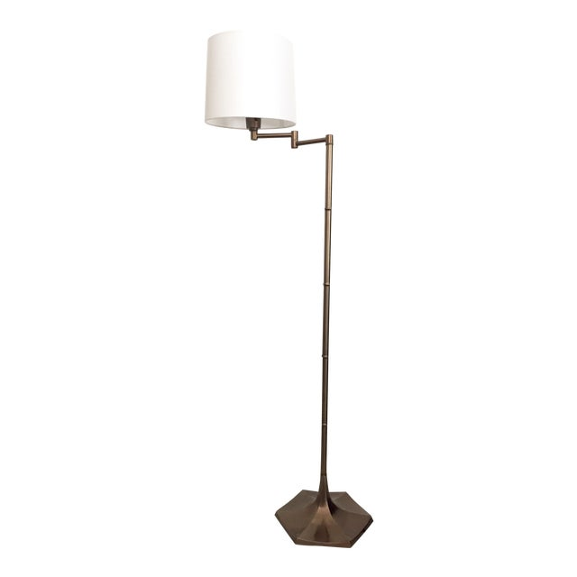 Mid-Century Brass Faux Bamboo Swing Arm Floor Lamp - Image 1 of 8