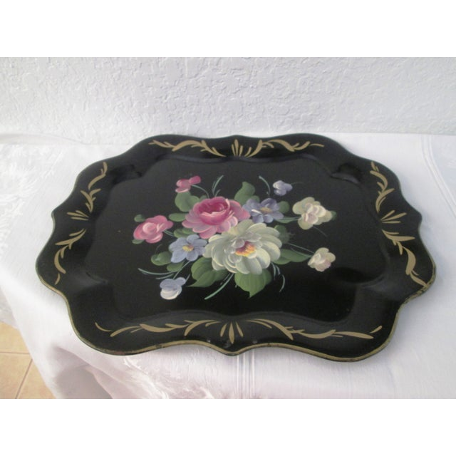 Vintage Large Tole Floral Tray - Image 3 of 7