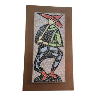 Vintage 1960s Mosaic Folk Art, Framed For Sale