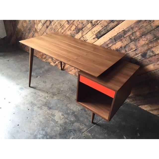 Mid-Century Style Custom Walnut Desk For Sale - Image 4 of 10