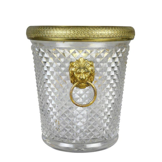 Traditional French Cut Crystal Bottle Holder or Ice Pail For Sale - Image 3 of 9