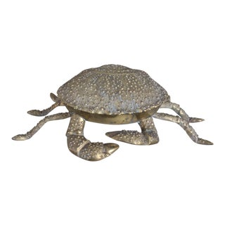 Vintage Solid Brass Crab Box For Sale