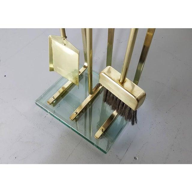1970s Fontana Arte Style Solid Brass Fireplace Tools - Image 6 of 8