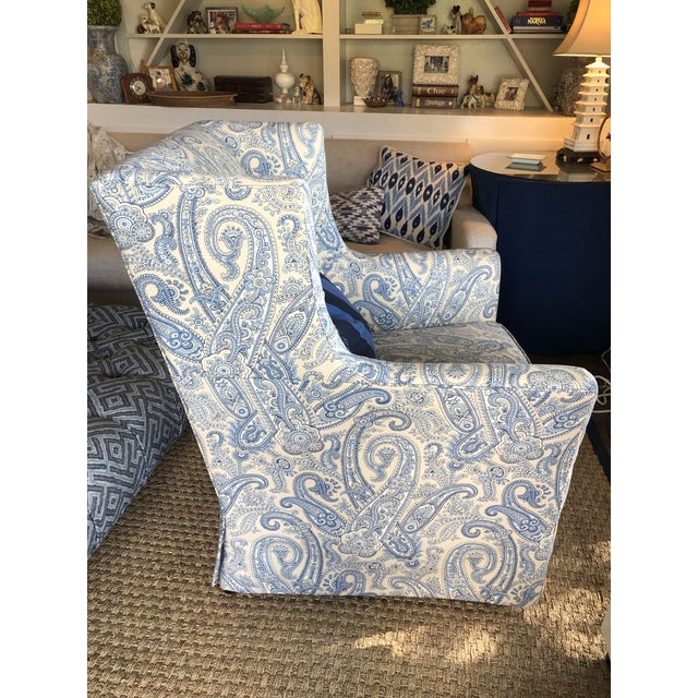 2010s Ralph Lauren Blue Paisley Custom Upholstered Hickory White Club Chair For Sale - Image 5 of 10