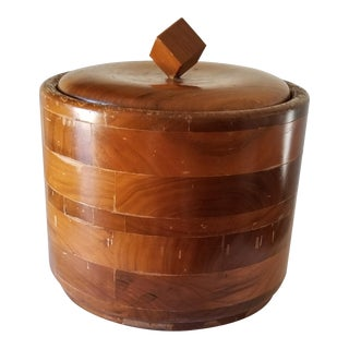 Mid-Century American Walnut Weathered Ice Bucket With Lid Glass Liner For Sale