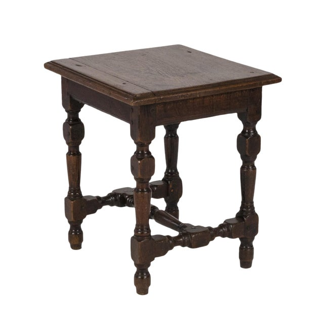 English Oak Square Stool With Turned Legs and H-Stretcher, Circa 1890 For Sale