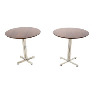 Mexican Modern Classic Knoll Style Side Tables Aluminum Walnut 1960s For Sale