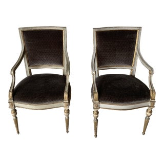 20th Century Italian Velvet Side Chairs - a Pair For Sale