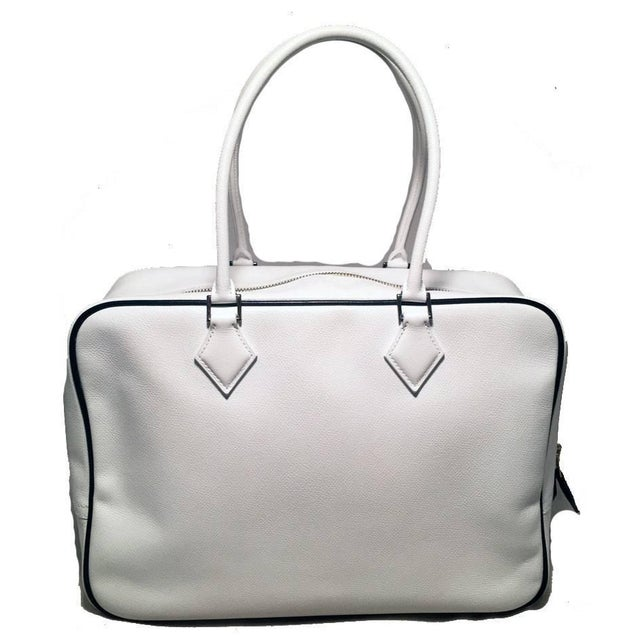 Contemporary Hermes Black and White Veau Grain Leather Plume Tote Handbag For Sale - Image 3 of 9
