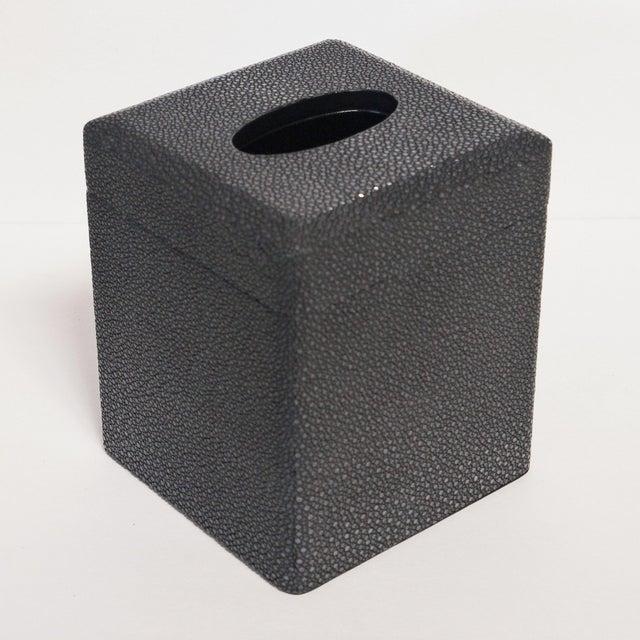 Italian black shagreen tissue box with black leather presentation box designed by Fabio Bergomi / Made in Italy Depth: 5...