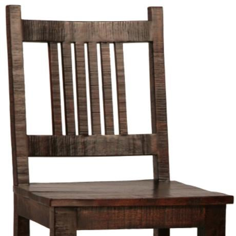 Contemporary Rustic Hardwood Bar Chair For Sale - Image 3 of 3