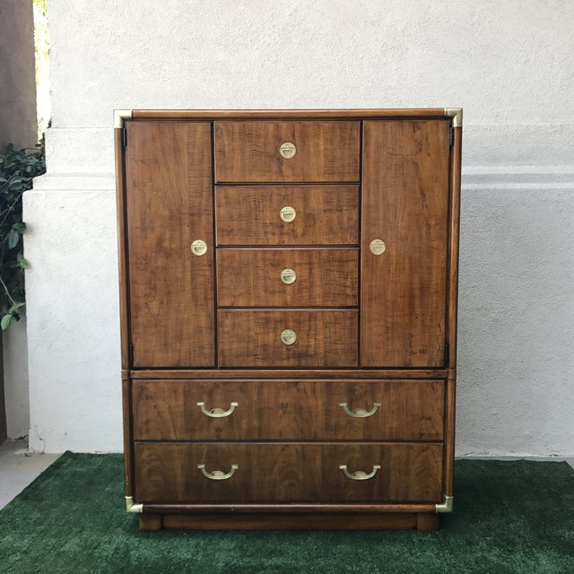 Campaign Drexel Accolade Campaign Highboy Dresser For Sale - Image 3 of 9
