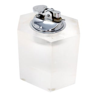 Vintage Hexagonal Lucite Table Lighter For Sale