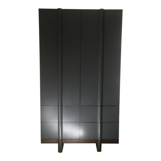 Vintage Modern Black Lacquered Armoire - Image 1 of 7