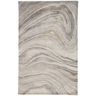 Jaipur Living Atha Handmade Abstract Gray/ Gold Area Rug - 2′ × 3′ For Sale