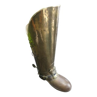 Vintage English Brass Boot Umbrella Stand For Sale