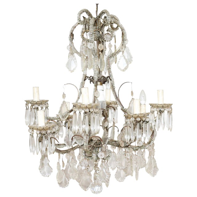 19th Century Italian Louis XVI Style Bronze and Crystals Swarovski Chandelier For Sale