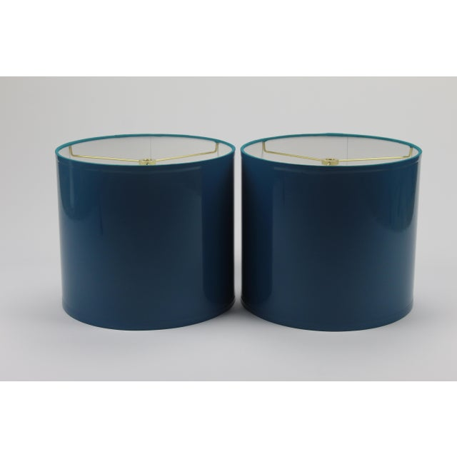 "Pair of high gloss teal lampshades Diameter: 9"" Height: 8"" Interior: White Spider: Brass"
