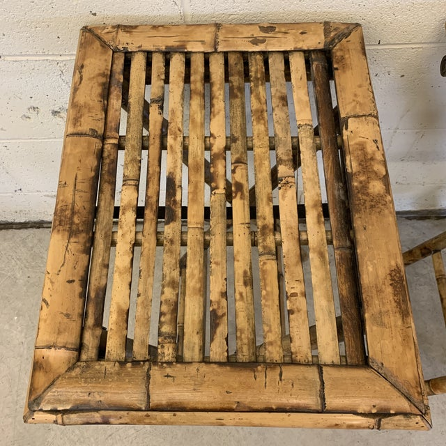 Vintage Burnt Bamboo Folding Tray Tables- a Pair For Sale - Image 4 of 13