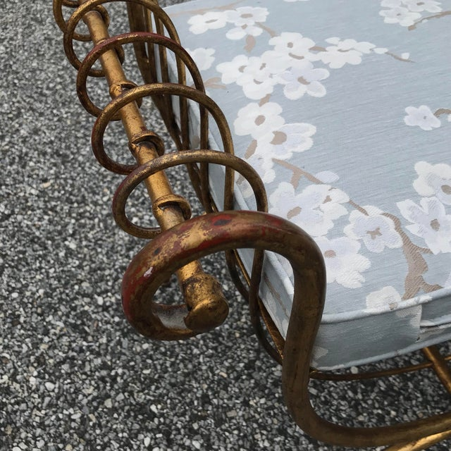 Vintage Mid Century Hollywood Regency Gilt Metal Bench For Sale In Philadelphia - Image 6 of 13