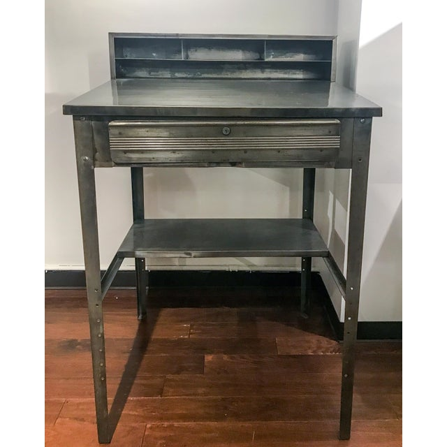 Silver 1970s Industrial Metal Shipping and Receiving Desk For Sale - Image 8 of 8
