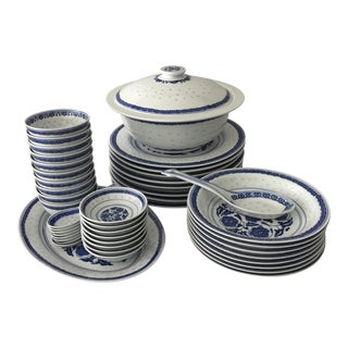 Blue & White Rice Ware Dinnerware - 49 Pieces