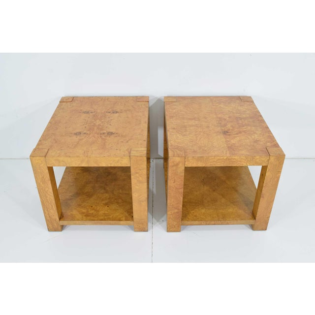 Mid-Century Modern Pair of Milo Baughman Burl Wood End Tables or Nightstands For Sale - Image 3 of 10