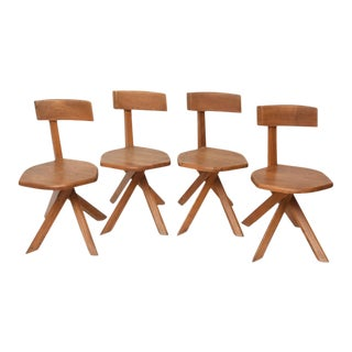 Set of Four Unusual French Modern Oak Chairs, Pierre Chapo For Sale