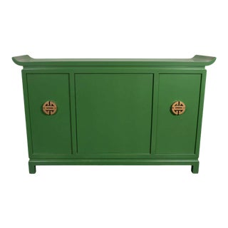 Mid-Century Modern Kelly Green Dry Bar/ Sideboard w/Gilt Pulls Signed James Mont For Sale