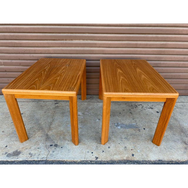 Fantastic condition on this pair on genuine Danish modern teak side tables from Vejle Stole. They are clean and sturdy and...