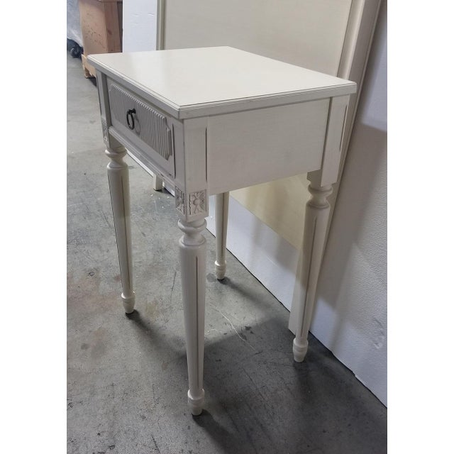 Swedish Style White Creamy Painted Nightstand For Sale - Image 4 of 5