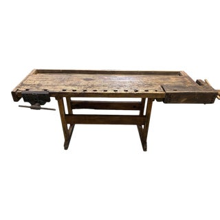 Antique Wood Work Bench Table For Sale