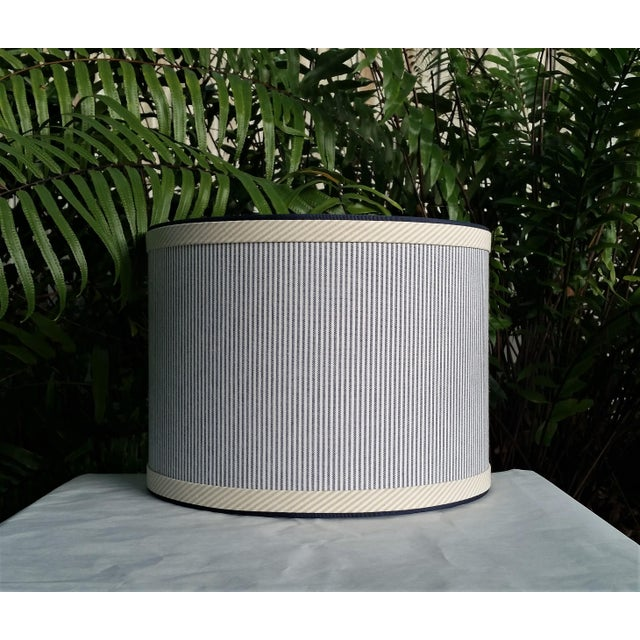 Not Yet Made - Made To Order Blue and White Stripe Cotton Off White Trim Coastal Drum Lampshade For Sale - Image 5 of 9