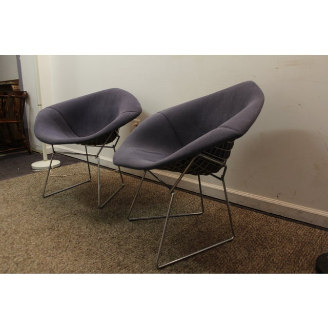 Bertoia Mid-Century Blue Diamond Chairs - Pair - Image 4 of 11