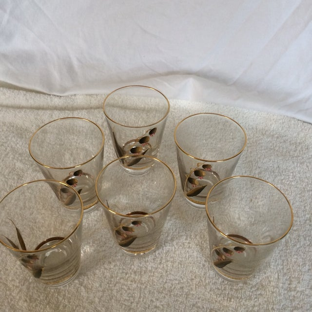 Beautiful Mid-Century Modern Hand Blown & Hand Painted With 22 Kt Gold Coral Bells Floral Design - Set of 6 For Sale - Image 11 of 13