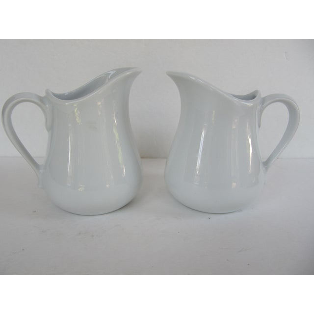 1990s Vintage Apilco France Classic Whiteware Porcelain Pitcher/ Creamer- 2 Pieces For Sale - Image 5 of 5