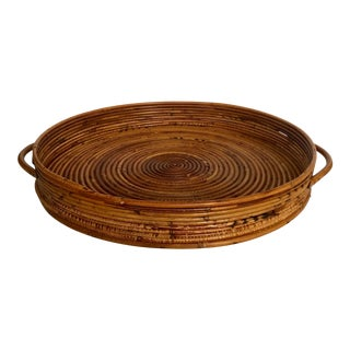 Vintage Large Pencil Reed Rattan Tray For Sale